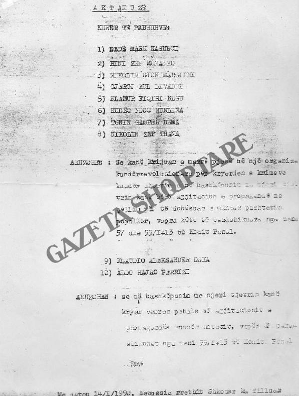 Faqja e parë e  aktakuzës për demonstratën e 14 janarit 1990