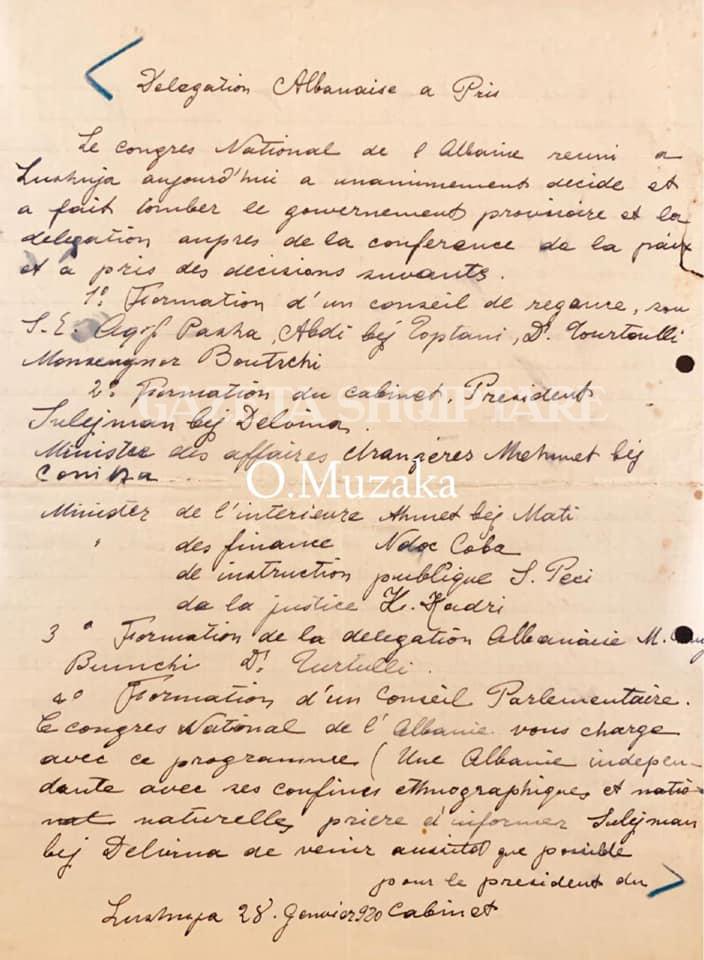 Dokumentet e rralla ne gjuhen frënge nga koleksioni i Olti Muzakës