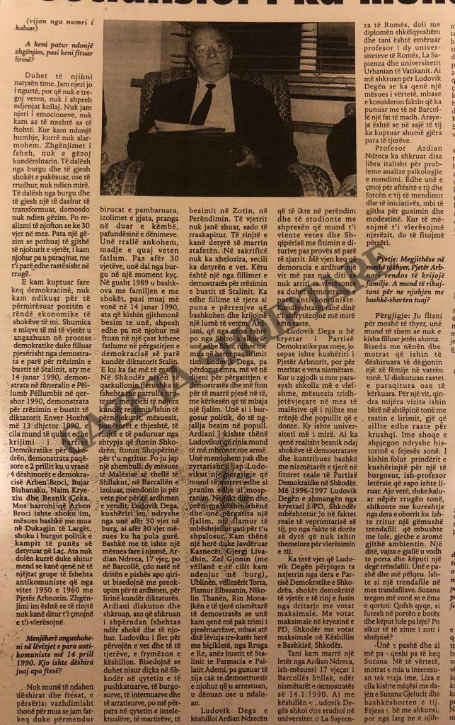 Rrëfimi i Pjetër Arbnorit në vitin 2005 për organizimin e demonstratës më 14 janar 1990