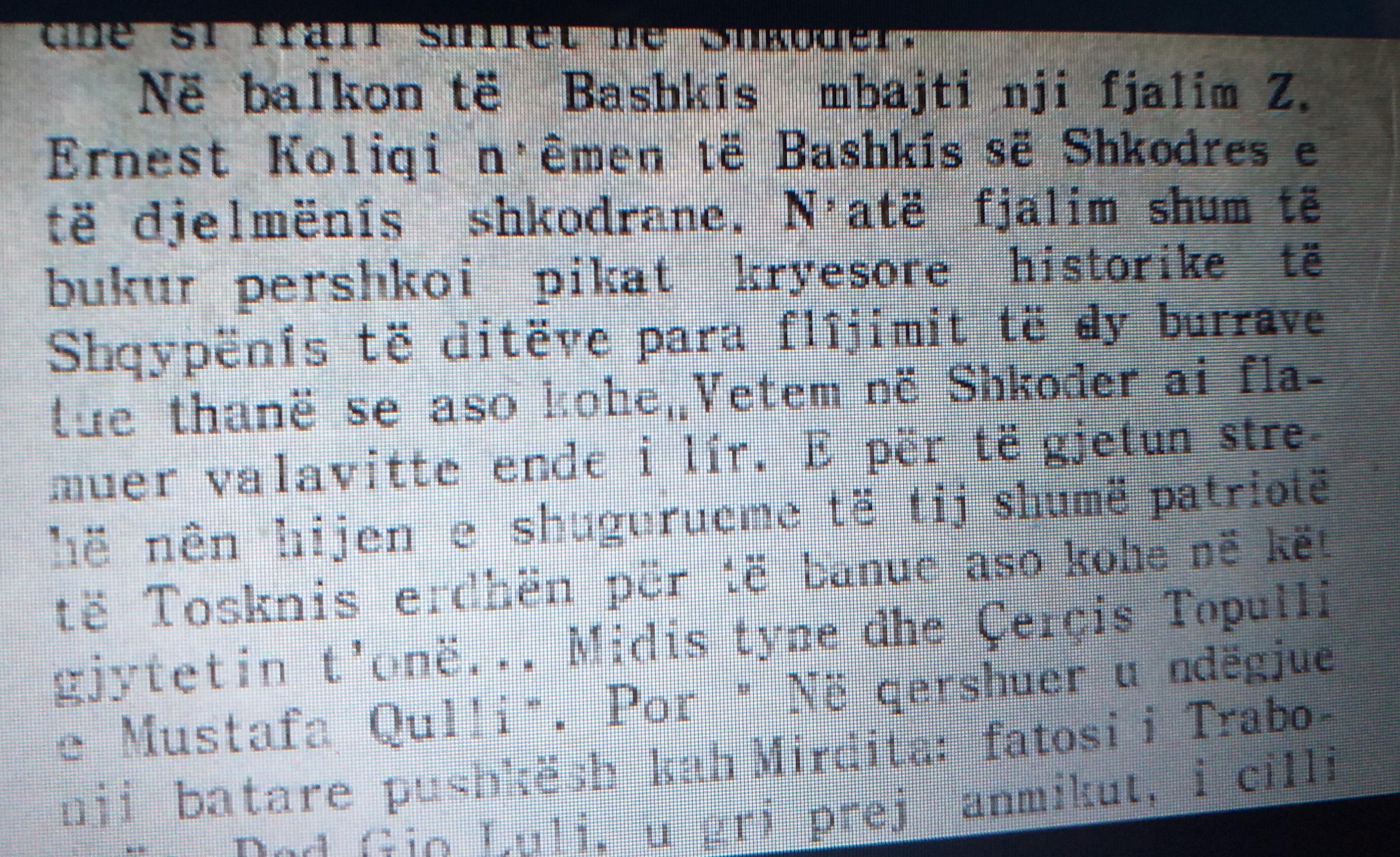 Gazetë e vitit 1936 ku përmendet fjala e Koliqit