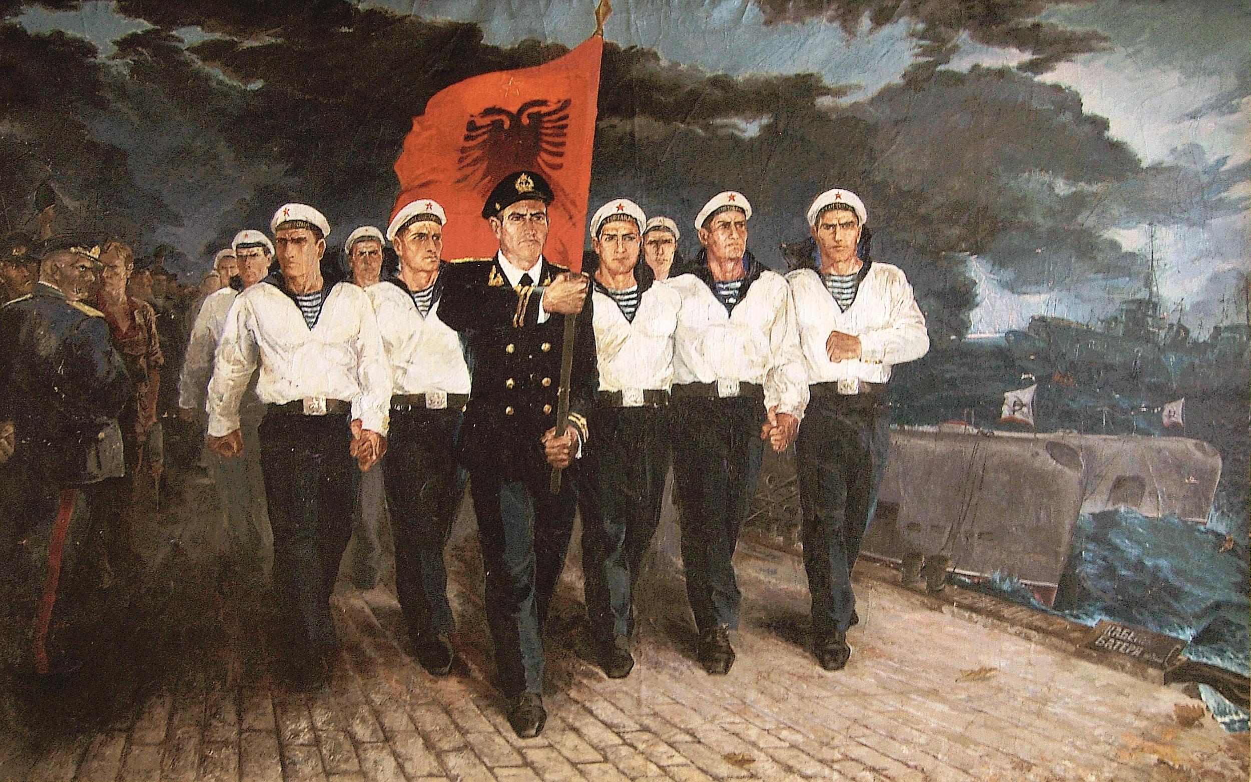 Robert Përmeti (1978),''Denoncement of Warsaw Treaty'', 190 x 320 cm _ oil on canvas _Courtesy the artist