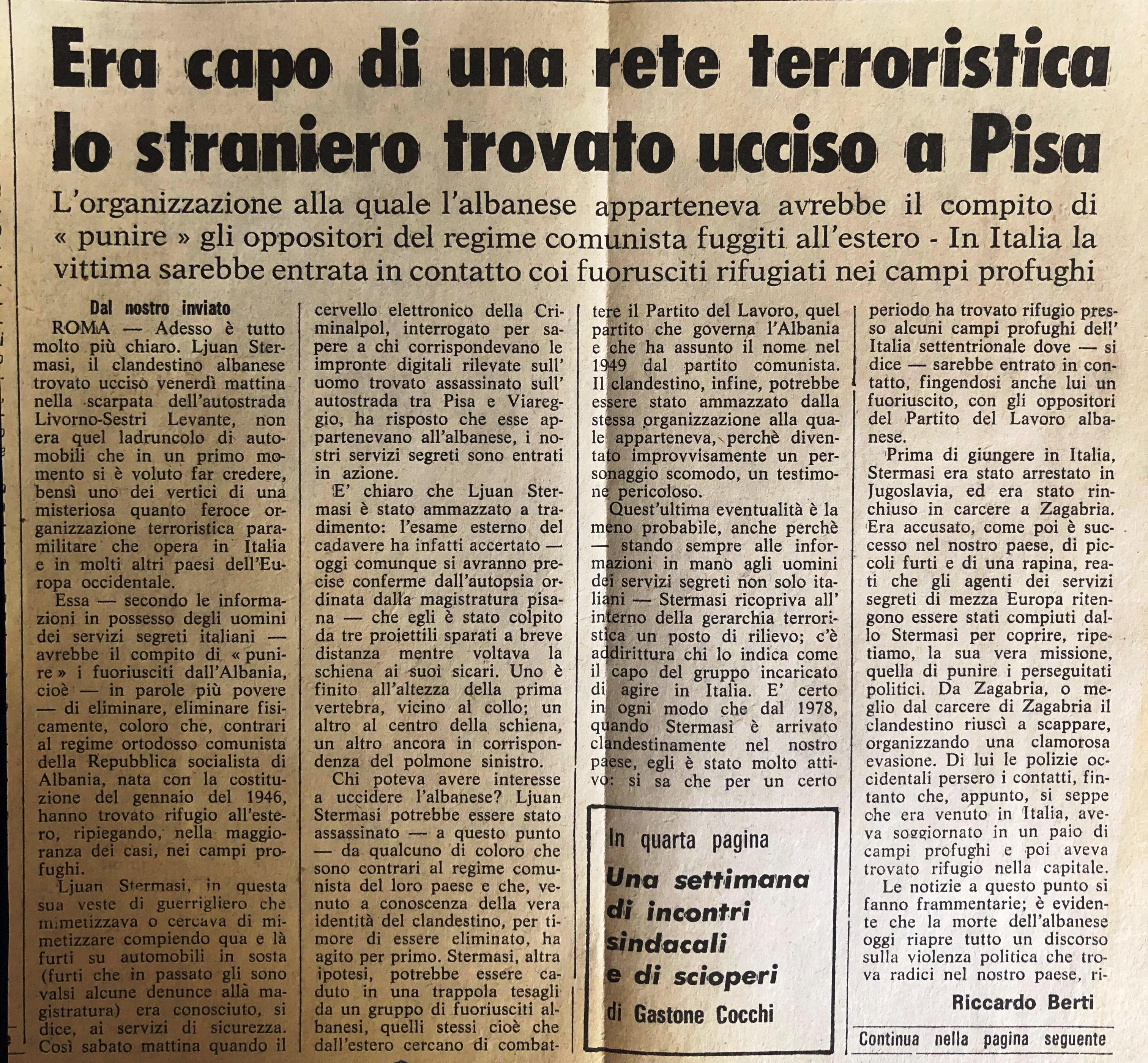La Nazione di Firenze, 8 ottobre 1979 fq. 1,2